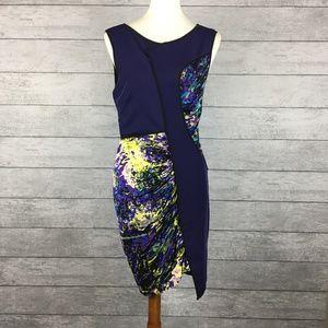 BCBGMaxAzria Runway Purple Abstract Dress Size M